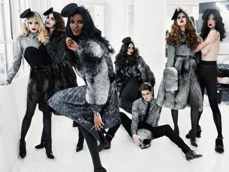 Hilary Rhoda, Jessica Stam, Liya Kebede, Du Juan, Hye Park, Bette Franke, and Behati Prinsloo.